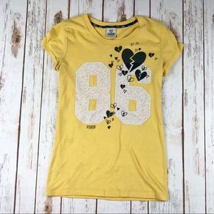 PINK Victoria's Secret Yellow Graphic Print Tshirt